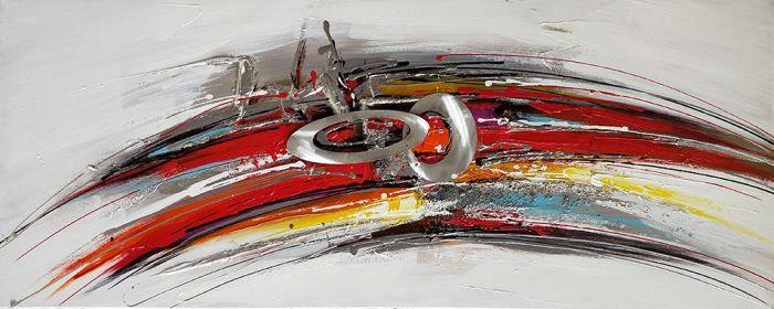 Abstracte Schilderijen: Olieverf schilderij kleurrijk aluminium abstract