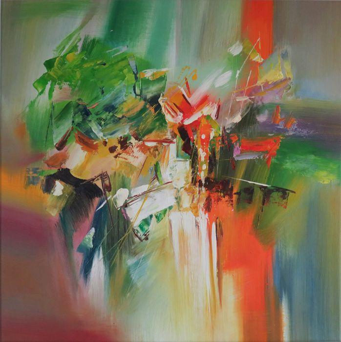 Abstracte Schilderijen: Kleurrijk abstract schilderij bestel