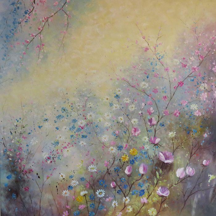 Bloemen Schilderijen: Schilderij Pastelkleurige Bloemenweide