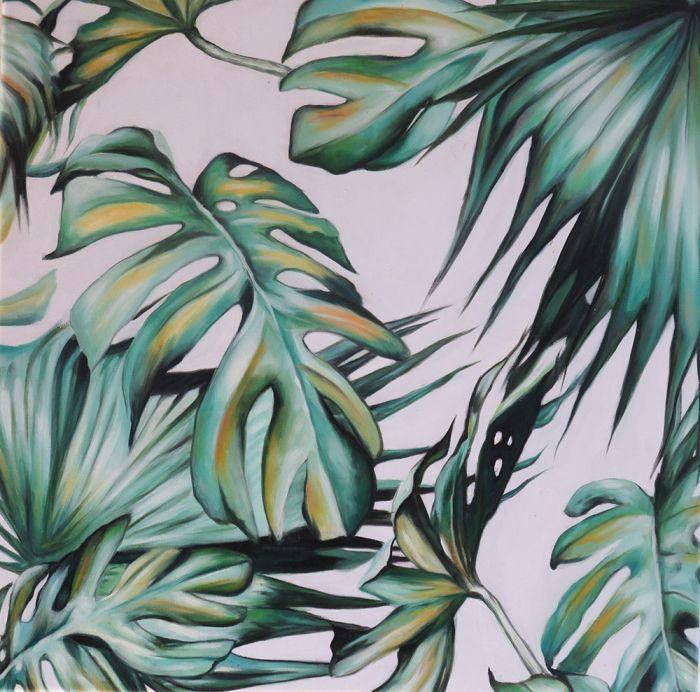 Natuur Schilderijen: Schilderij Groen Gele Bladeren