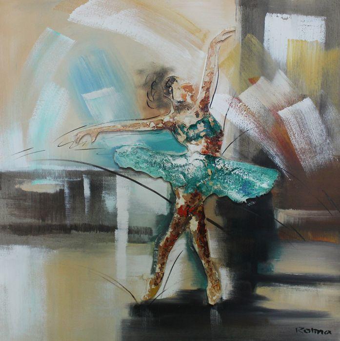 Figuratieve Schilderijen: Olieverf schilderij dansende ballerina