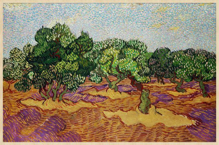 Abstracte Schilderijen: Groene struiken en oranje bodem