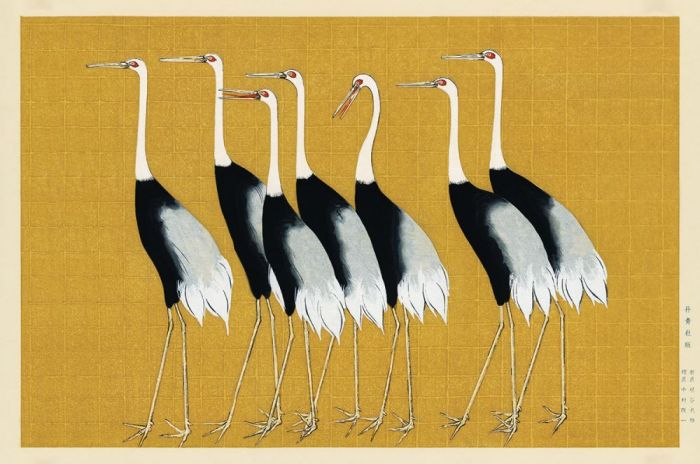 Dieren Schilderijen: Houten schilderij kraanvogels - LAND OF THE RISING SUN 005 - Wandkraft Collectie