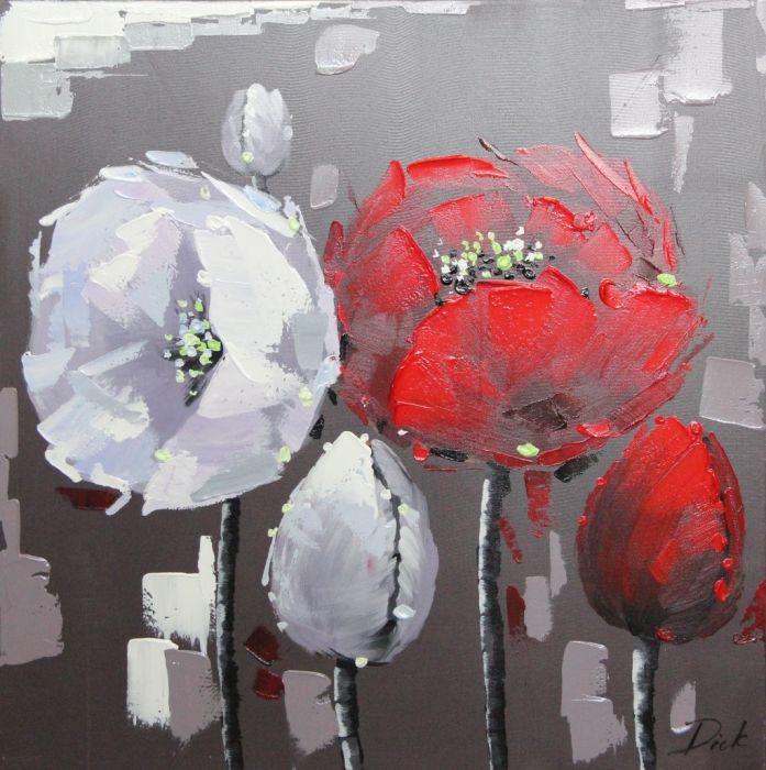 Bloemen Schilderijen: Schilderij wit rode bloemen modern 80x80