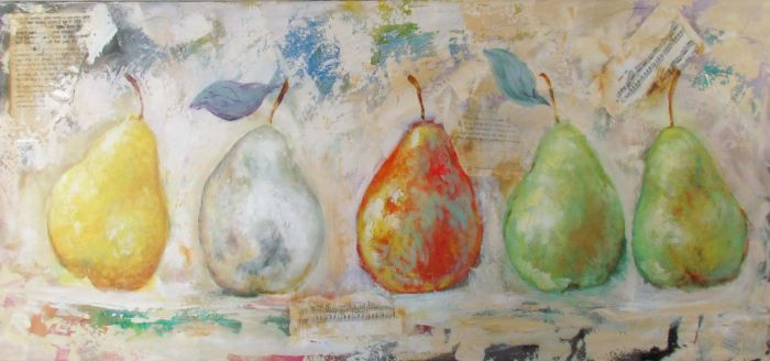 Eten & Drinken Schilderijen: Olieverf Schilderij Vijf Kleurrijke Peren 150x60