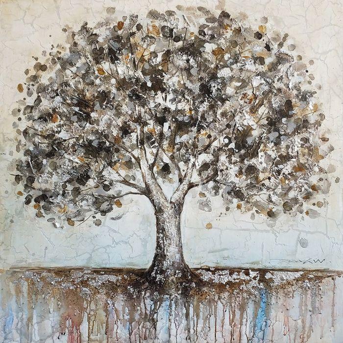 Landschappen Schilderijen: Olieverf schilderij bruin grijze eikenboom