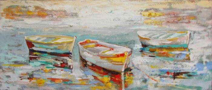 Rijtuigen Schilderij: Olieverf Schilderij Drie Kleurrijke Boten 150x60