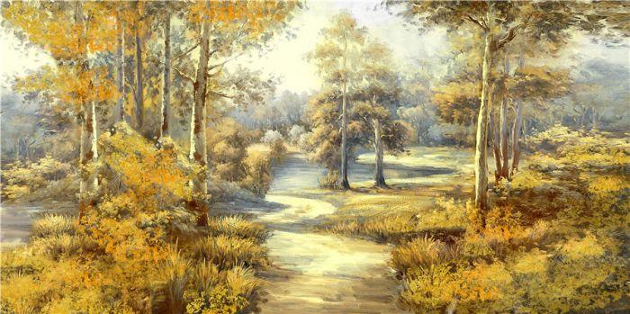 Landschappen Schilderijen: Olieverf schilderij herfstachtig bosrijk