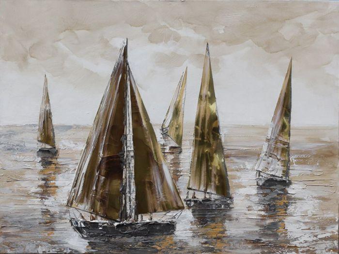 Landschappen Schilderijen: Olieverf schilderij vijf bruine zeilboten