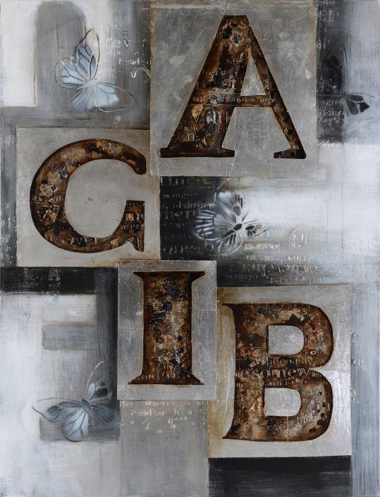 Moderne Schilderijen: Olieverf Schilderij Aluminium Letters 90x120