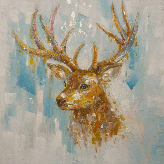 Dieren Schilderijen: Olieverf schilderij licht bruin hert