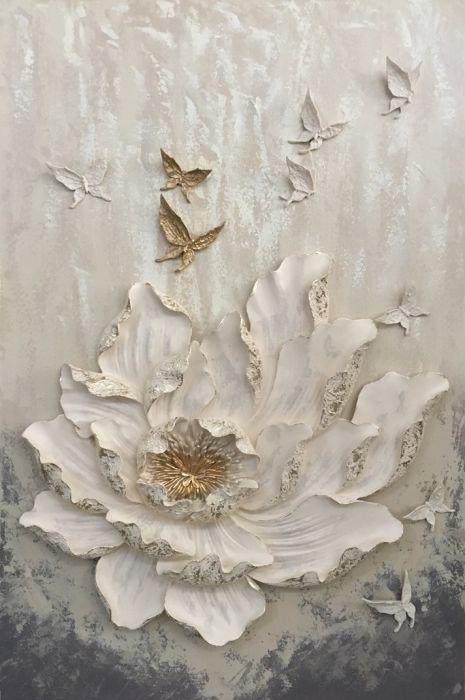 Bloemen Schilderijen: Vlinder Bloem Schilderij