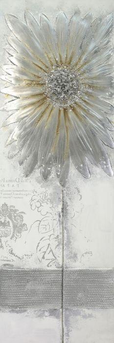 Bloemen Schilderijen: Olieverf Schilderij Aluminium Zilveren Gouden Bloem 50x150