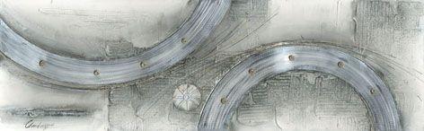 Moderne Schilderijen: Schilderij Aluminium Ringen 150x60