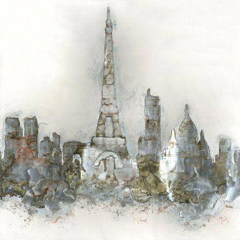 Gebouwen Schilderijen: Abstract Parijs Schilderij