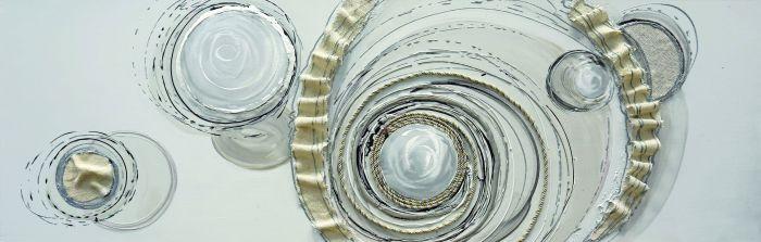 Abstracte Schilderijen: Schilderij Stoffen Cirkels Beige 150x50
