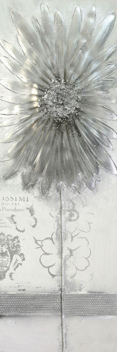 Bloemen Schilderijen: Olieverf Schilderij Aluminium Zilveren Bloem 50x150