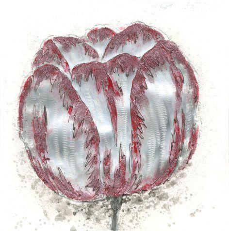 Bloemen Schilderijen: Rood Grijze Tulp Schilderij
