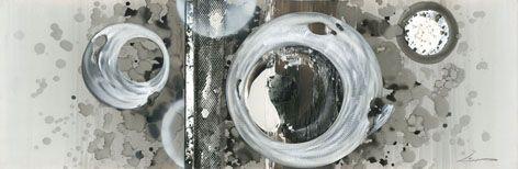 Abstracte Schilderijen: Schilderij  Cirkels Grijs Wit150x50