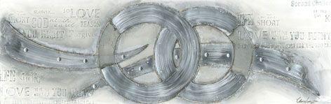 Moderne Schilderijen: Schilderij Aluminium Zilveren Ringen 150x60