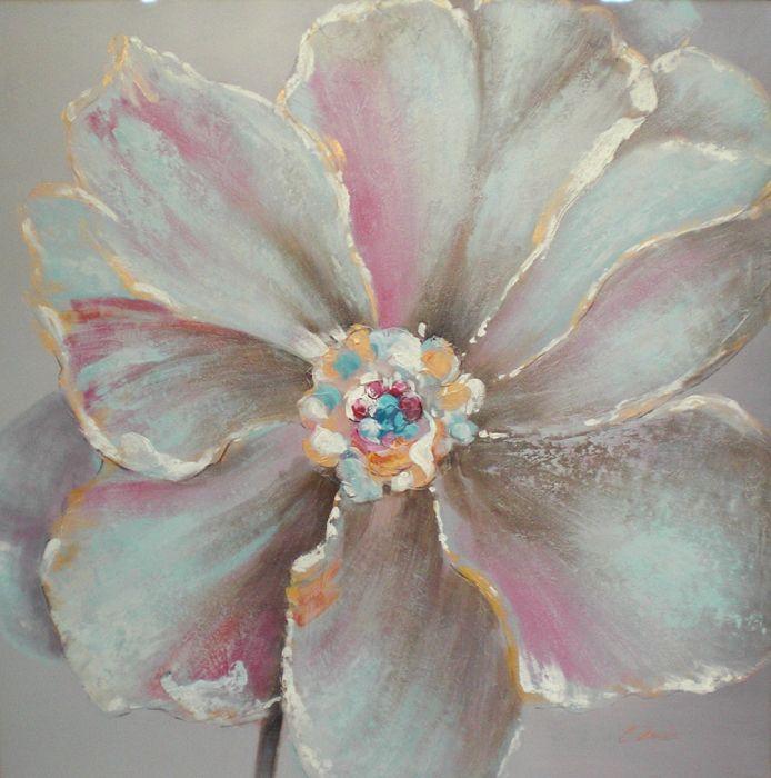 Bloemen Schilderijen: Schilderij Bloem Roze Grijs Oranje 100x100