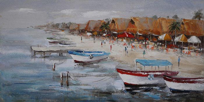 Zeezicht Schilderijen: Schilderij Strand Boulevrd 150x60