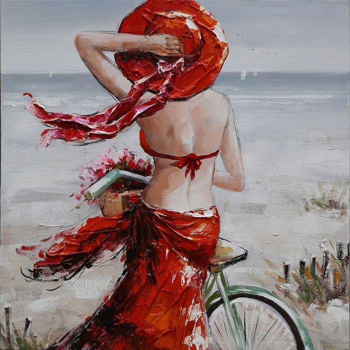 Figuratieve Schilderijen: Schilderij Rode Outfit Vrouw Op Strand 100x100