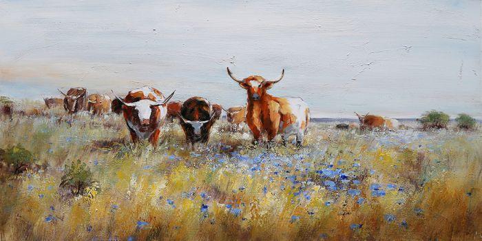 Dieren Schilderijen: Schilderij Weiland Schotse Hoogland Koeien 150x60