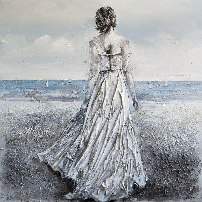 Figuratieve Schilderijen: Olieverf schilderij stoffenjurk strandvrouw