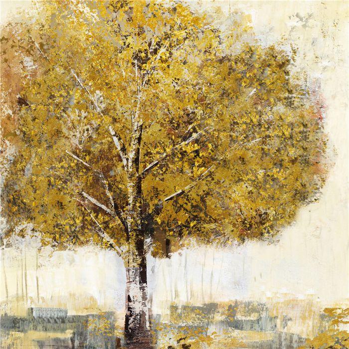 Landschappen Schilderijen: Olieverf schilderij herfstachtige eikenboom