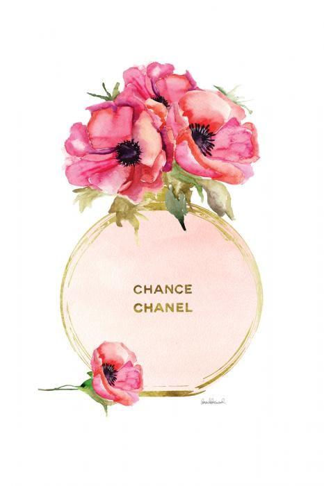 Bloemen Schilderijen: Glas Schilderij Rond Parfumflesje Chance Chanel 60x80