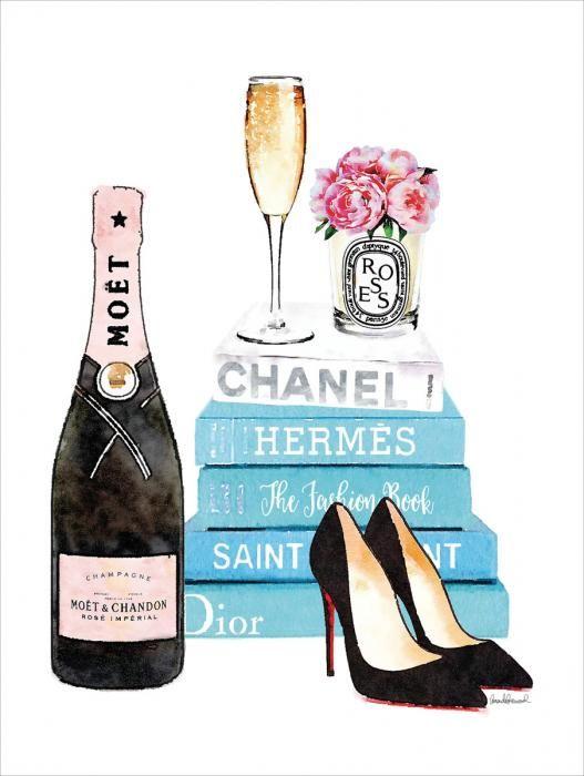 Foto Kunst Schilderijen: Glas schilderijen met goudfolie fles champagne en blauwe boeken 60x80