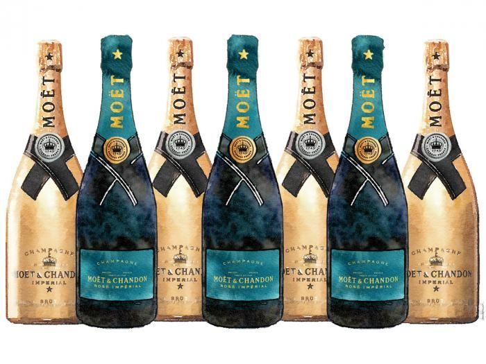 Eten & Drinken Schilderijen: Flessen Champagne Gouden Emerald Groen Glas Schilderij 60x80