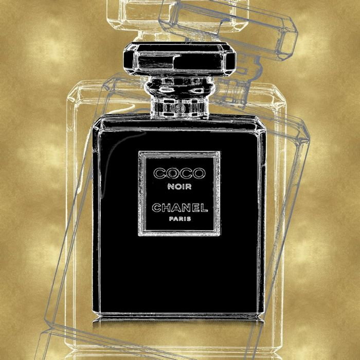 Foto Kunst Schilderijen:  Glas schilderij met metallic coating laag van parfumfles Coco Chanel goud 80x80