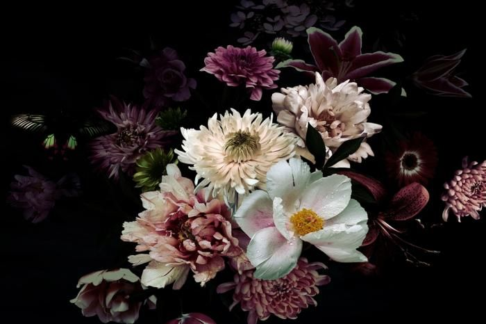 Bloemen Schilderijen: Paars Witte Roze Bloemen Zwart Achtergrond Glas Schilderij 120x80