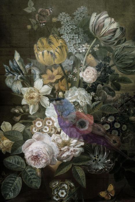 Bloemen Schilderijen: Stilleven Bloemen Met Lichte Vakken op Achtergrond Glas Schilderij 80x120