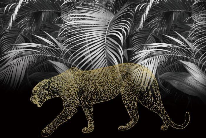 Dieren Schilderijen: Luipaard Jungle Bladeren Zwart Glas Art 120x80