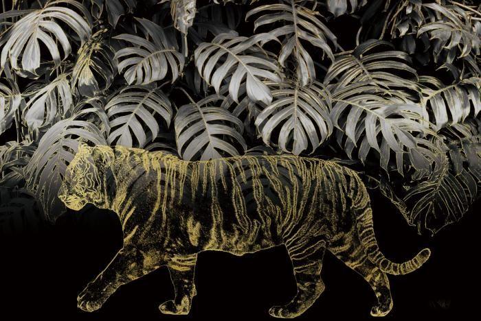 Dieren Schilderijen: Tijger Jungle Bladeren Line Art Glas 120x80