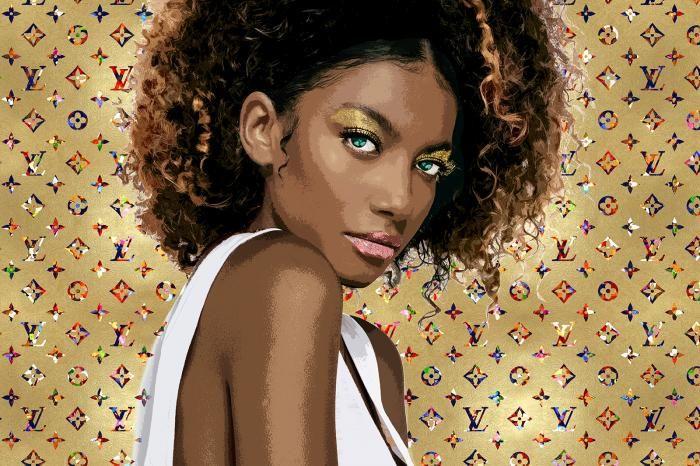 Figuratieve Schilderijen: Gouden Fotomodel Louis Vuitton Metallic Glas Schilderij 120x80