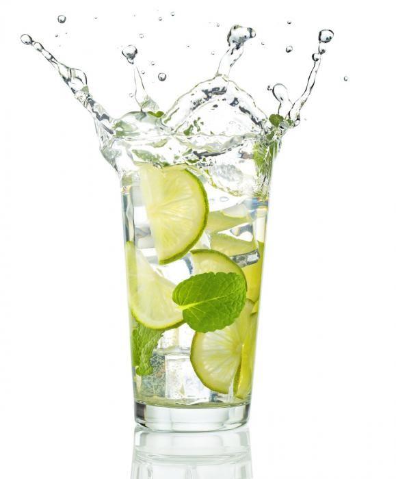Eten & Drinken Schilderijen: Limoenen Munt IJsblokje Water H2O Glas Schilderij 60x80
