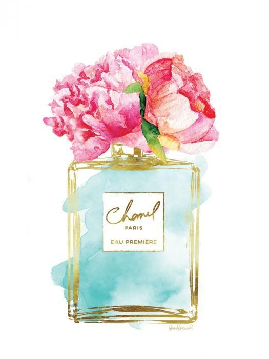 Bloemen Schilderijen: Glas Schilderij Met Goudfolie Chanel Parfumfles Licht Turquoise 60x80