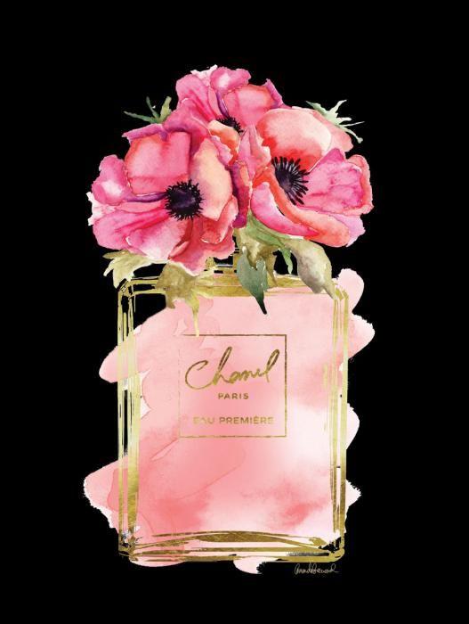 Bloemen Schilderijen: Glas Schilderij Met Goudfolie Chanel Parfum 60x80