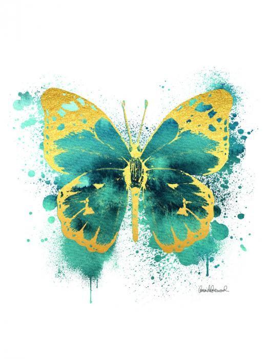 Dieren Schilderijen: Glas schilderij met goudfolie van vlinder 60x80