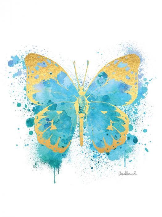 Dieren Schilderijen: Glas schilderij met goudfolie van blauwe vlinder 60x80