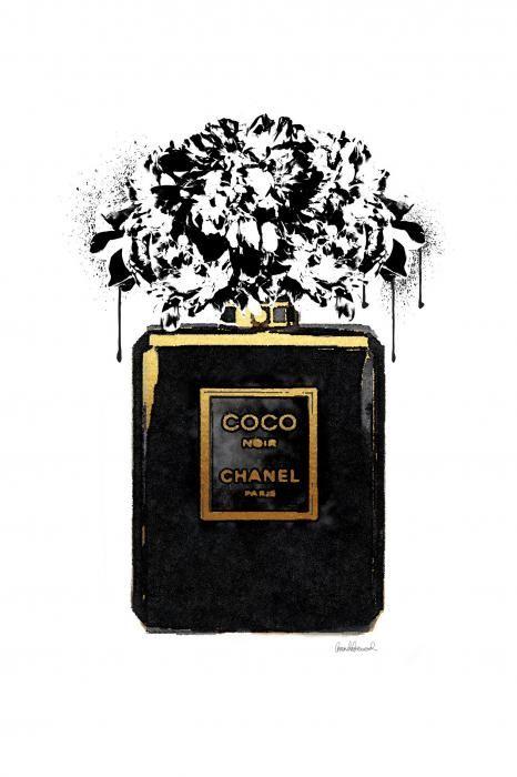 Glas schilderijen: Glas schilderij Coco Noir parfumflesje 60x80