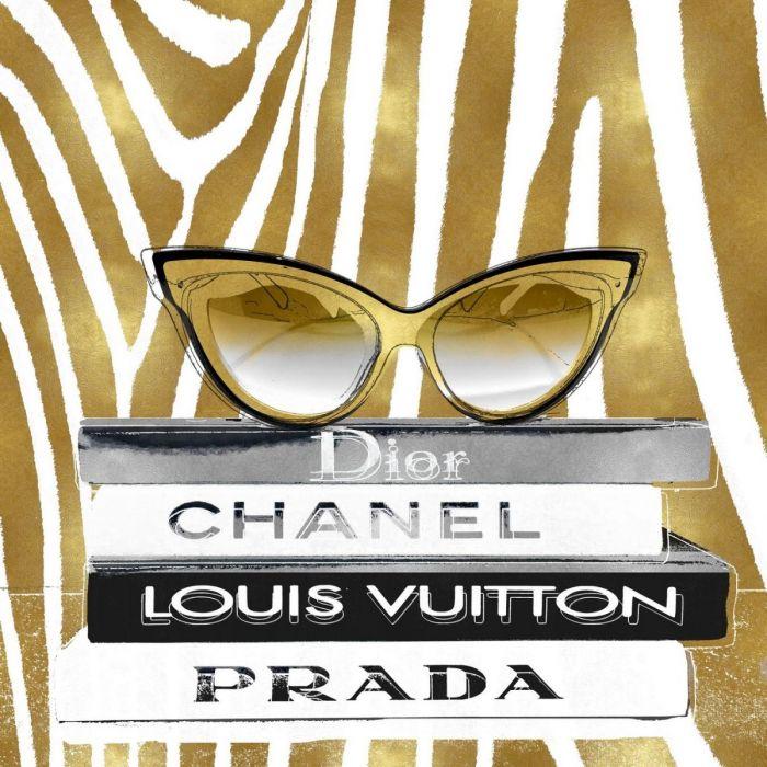 Foto Kunst Schilderijen: Glas schilderij met goudfolie Dior 60x80