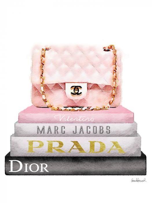 Foto Kunst Schilderijen: Merk Boeken Tas Roze Chanel Prada Valentino Glas Schilderij 60x80