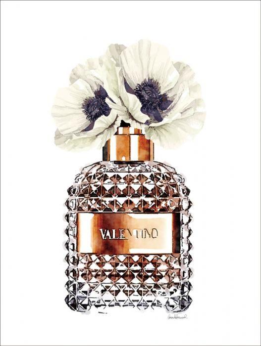 Foto Kunst Schilderijen: Parfumfles Valentino Bloemen Koper Glas Schilderij 60x80