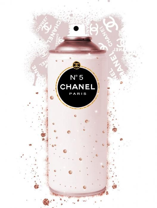 Foto Kunst Schilderijen: Zachtroze Spuibus Chanel Goudfolie Glas Schilderij 60x80