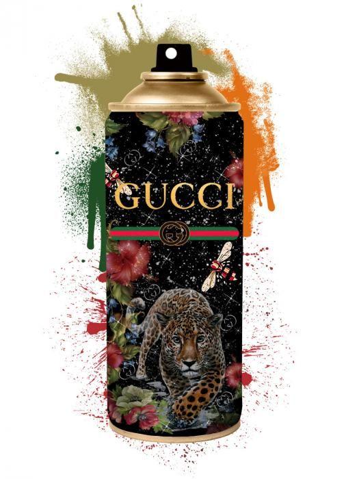 Foto Kunst Schilderijen: Kleurrijke Spuitbus Panter Gucci Glas Schilderij 60x80